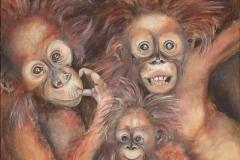 Onze-aapjes 70x70  olieverf op linnen
